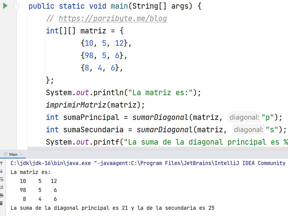 Sumar diagonales de matriz en Java - Programación