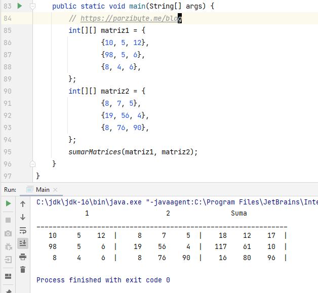Sumar matrices en Java - Programación