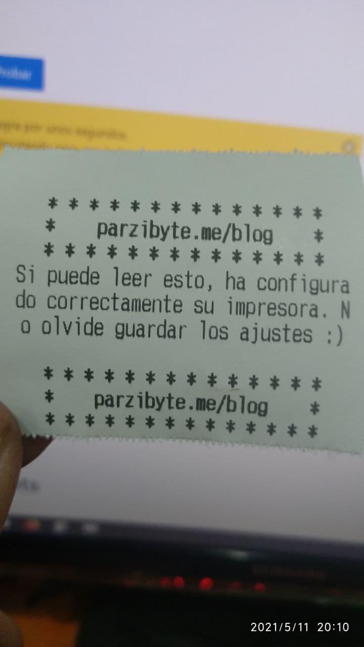 Ticket de prueba impreso con sistema de parking