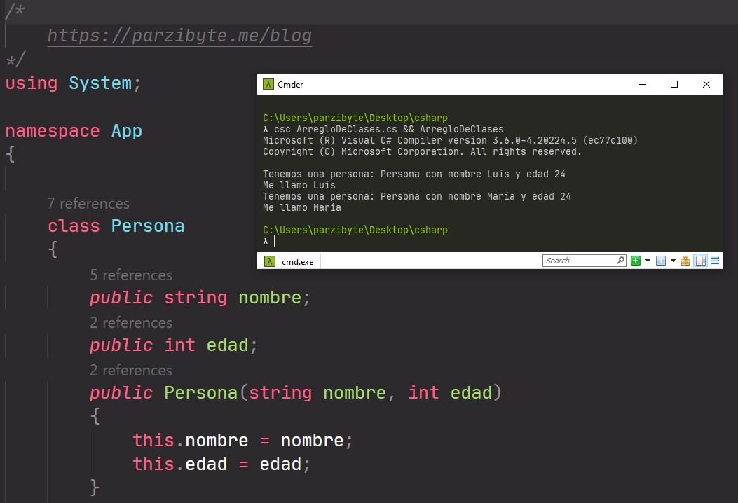 Arreglos de objetos en C# (clases y POO)