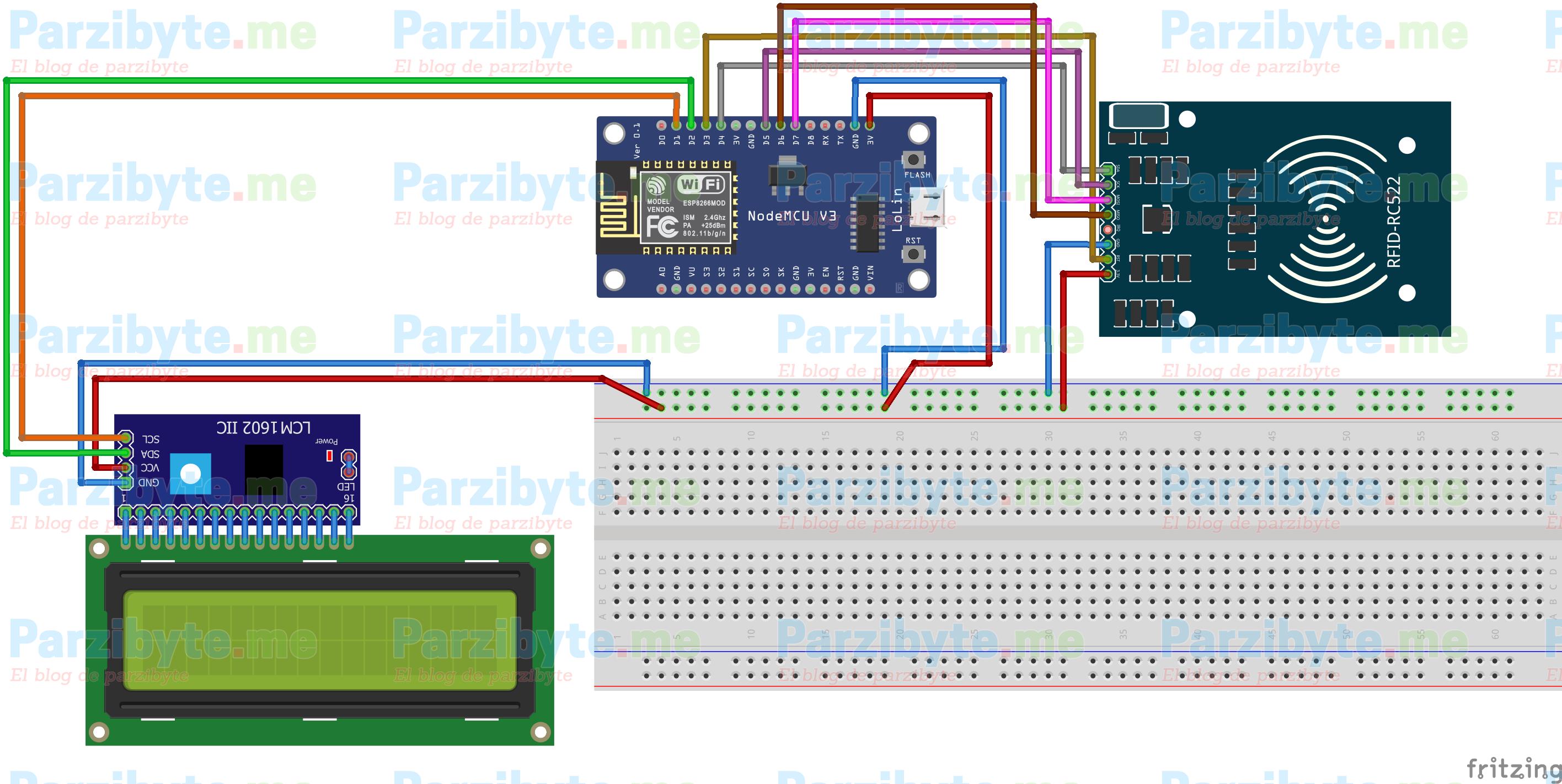 Circuito para monedero electrónico RFID y ESP8266