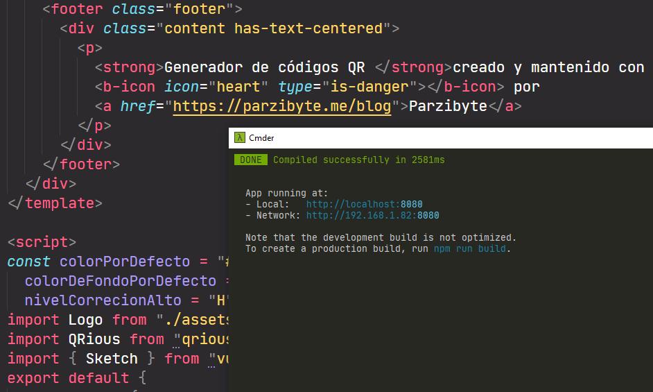 Ejecutando aplicación de códigos QR con npm run serve