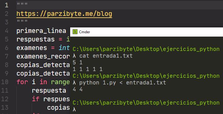 Ejercicio resuelto de copias de exámenes en Python