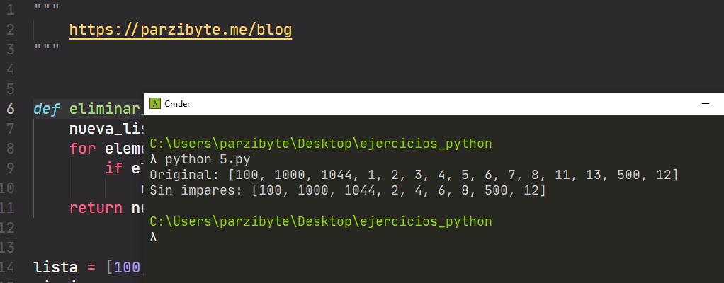 Eliminar impares de lista con Python