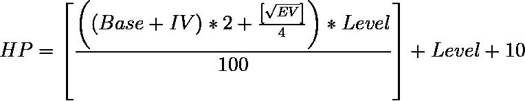 Fórmula para calcular puntos de vida