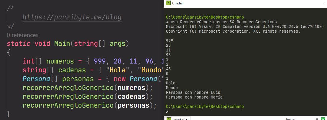 Función con arreglos genéricos en C#