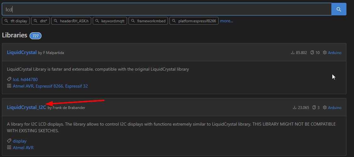 Instalar librería LiquidCrystal_I2C para ESP8266 y LCD con I2C