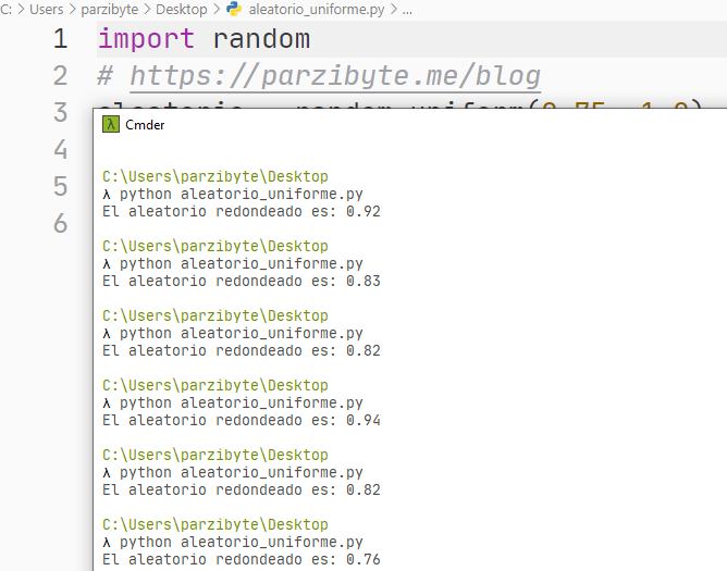 Python - Aleatorio fraccionario redondeado con round