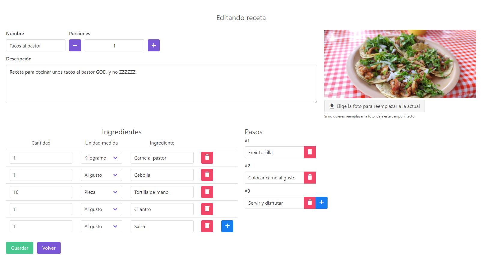 Editando receta - Modificar pasos, foto, ingredientes, nombre, porciones o descripción