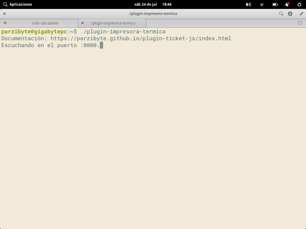 Ejecutando plugin para impresora térmica en Linux