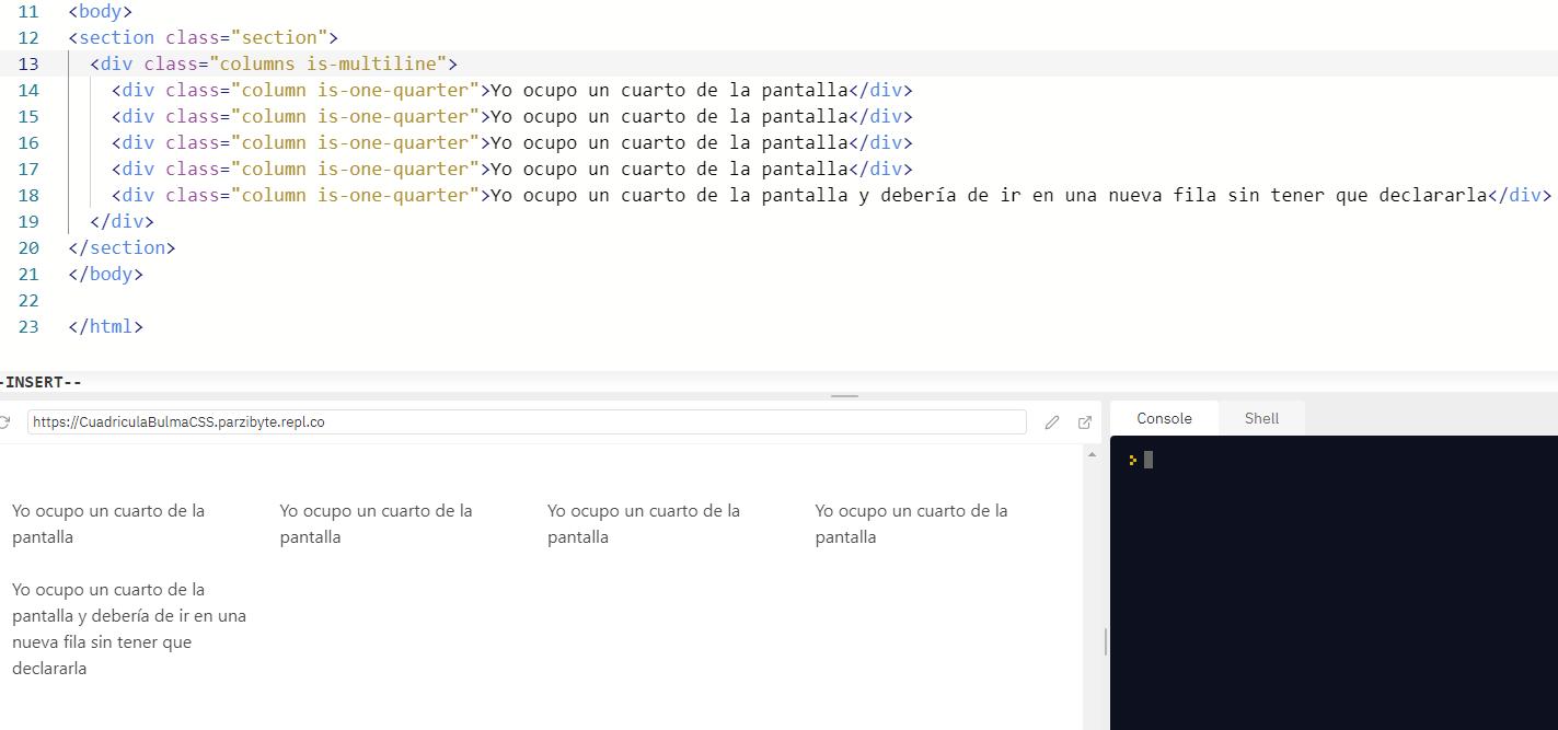 Grid con filas y columas dinámicas usando Bulma y CSS