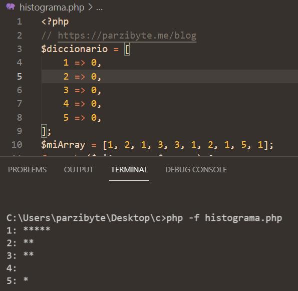 Histograma con PHP - Contar frecuencia de números