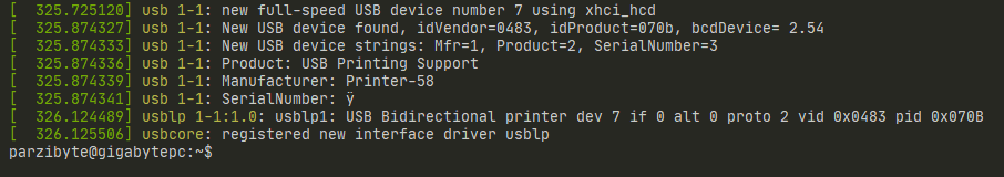 Impresora térmica detectada en Linux