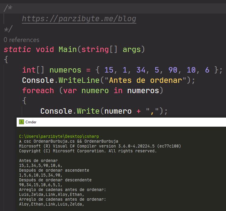 Ordenar arreglos en C sharp - Burbuja (bubble sort)