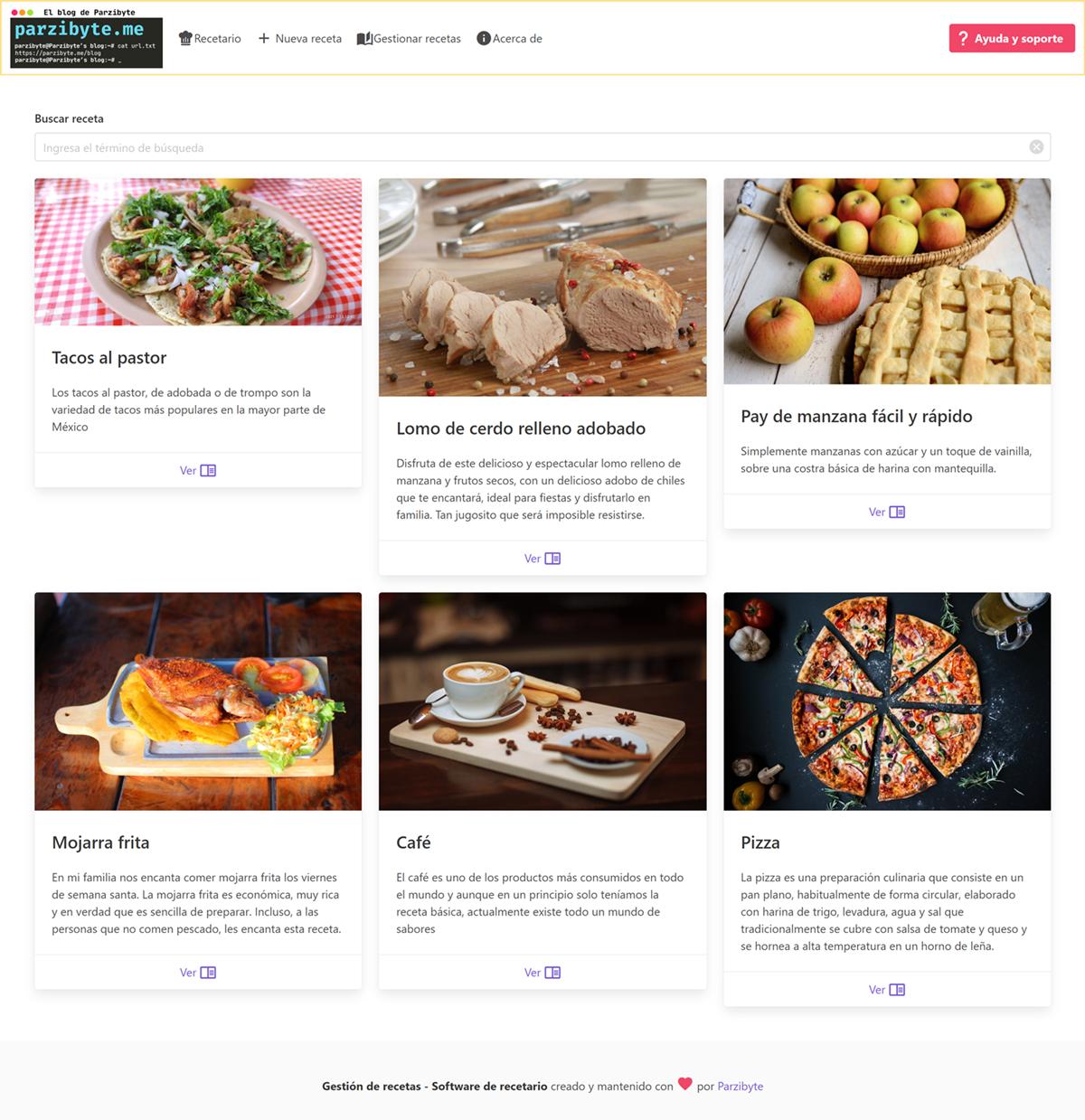 Recetario web con PHP y Vue - Open source y gratuito