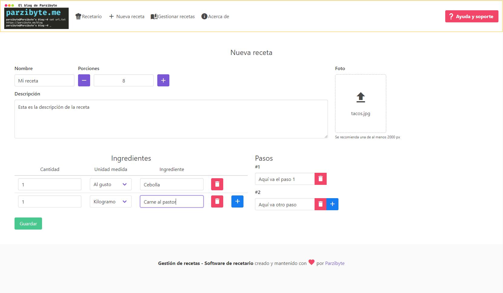 Registrar receta en recetario online - Libro de recetas