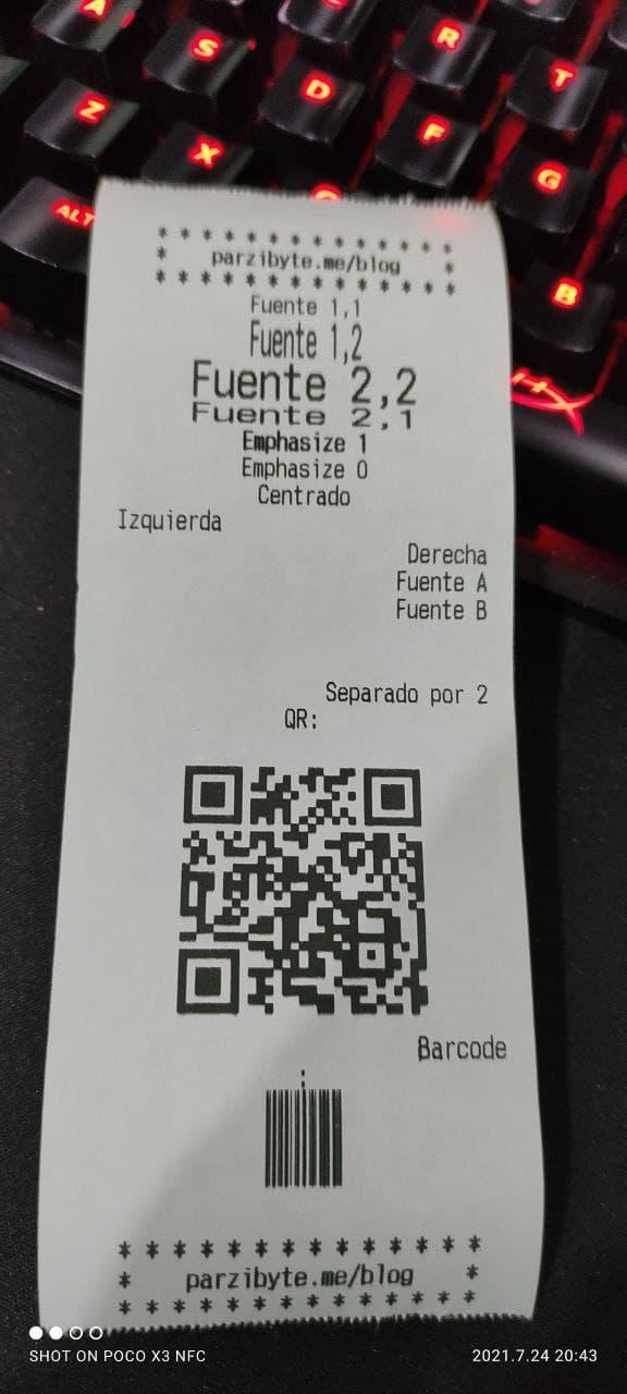 Ticket impreso desde JavaScript con Linux