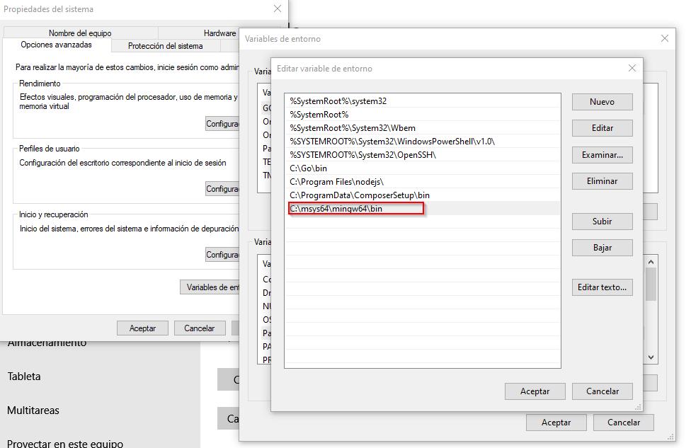 Agregar MSYS2 y Mingw a la PATH para tener gcc y g++