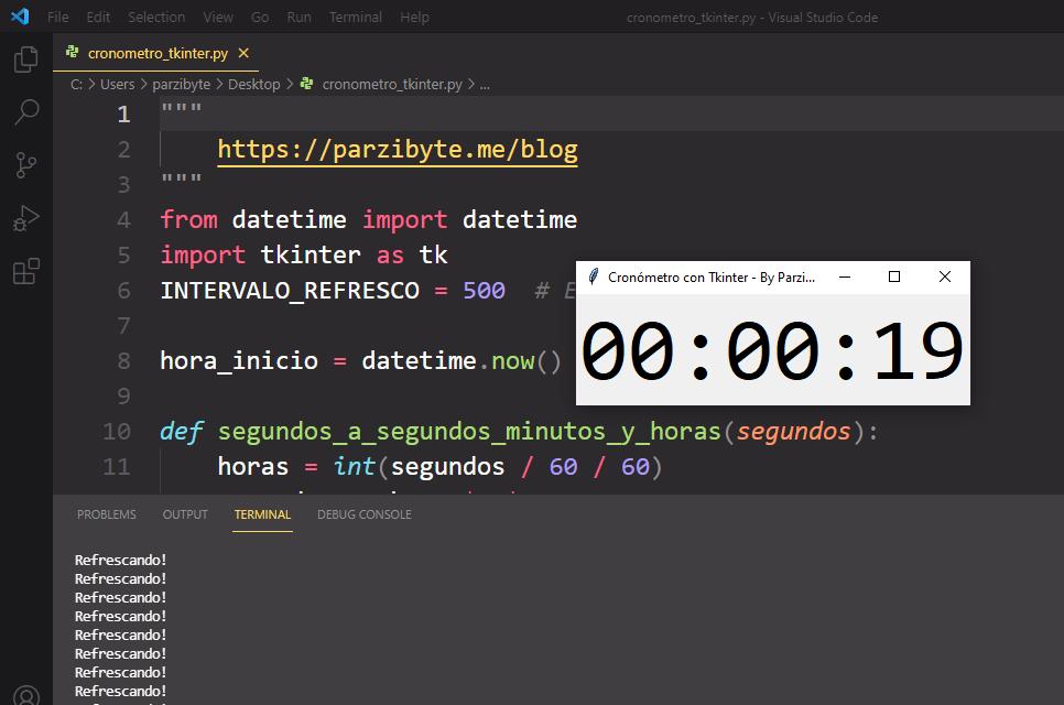 Cronómetro con Python y Tkinter - Mostrar tiempo transcurrido