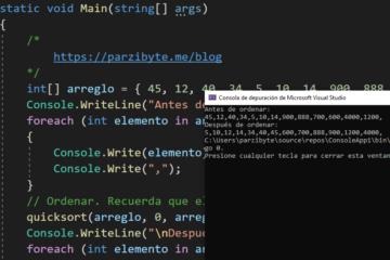 Ordenar arreglo en C# usando Quicksort - Algoritmo divide y vencerás