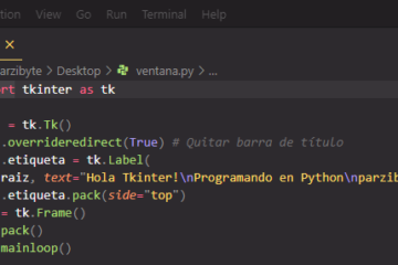 Quitar barra de título y botones de ventana con Tkinter y Python