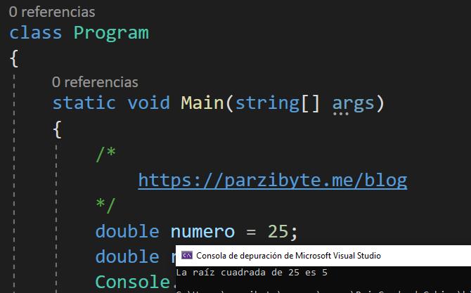 Raíz cuadrada de un número en C# con Visual Studio