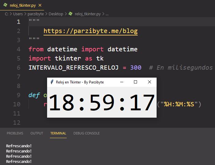 Reloj con Tkinter y Python - Mostrar la hora en tiempo real dentro de ventana