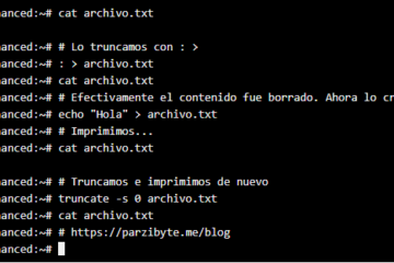 Truncar archivo en Linux - Borrar todo el contenido