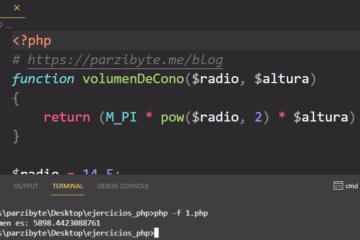 Volumen de un cono con PHP