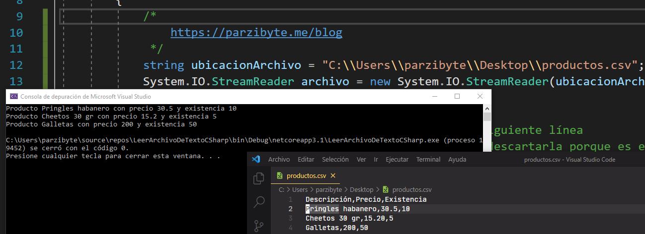 Leer CSV con C# en Visual Studio - Interpretar archivo separado por comas