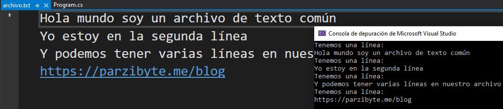 Leer archivo de texto con C# en Visual Studio