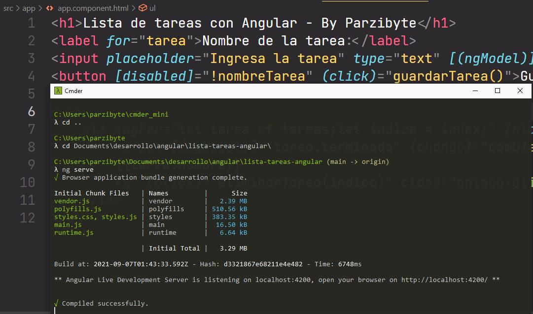 Lista de tareas pendientes con Angular - Ejecutando proyecto con ng serve