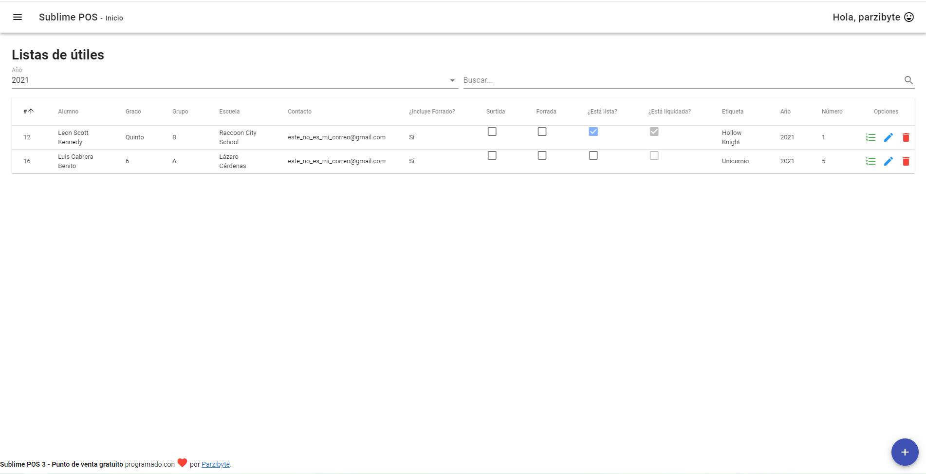 Listas de útiles con registro de alumno, productos y detalles