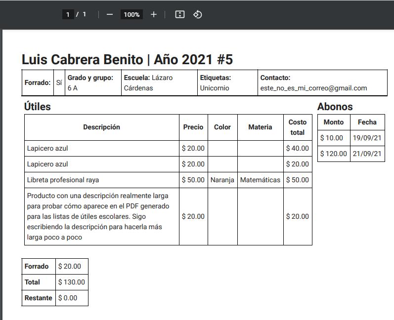 PDF para cliente - Detalle de alumno, abonos y lista de productos escolares