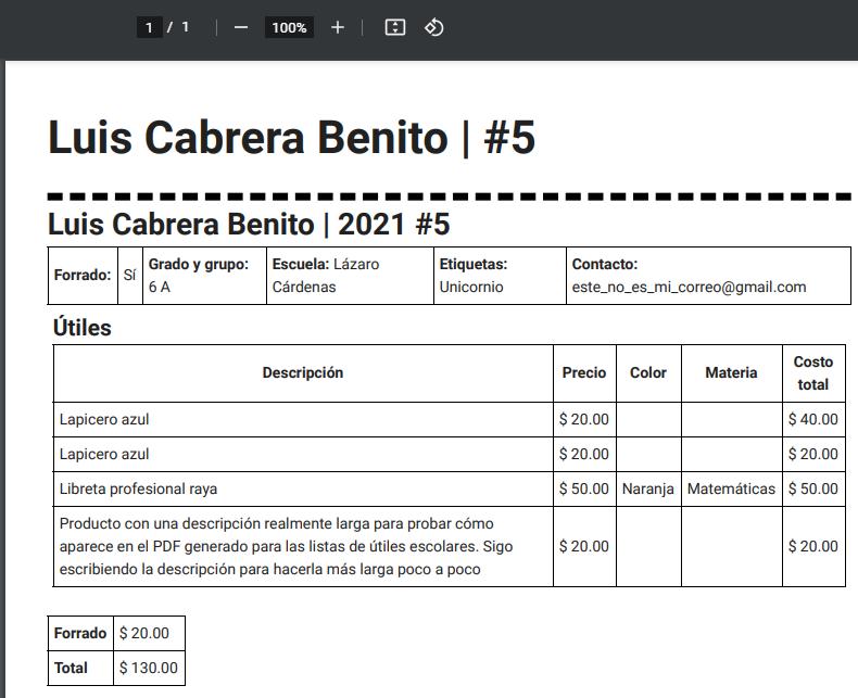 PDF para el usuario - Detalle de lista de útiles