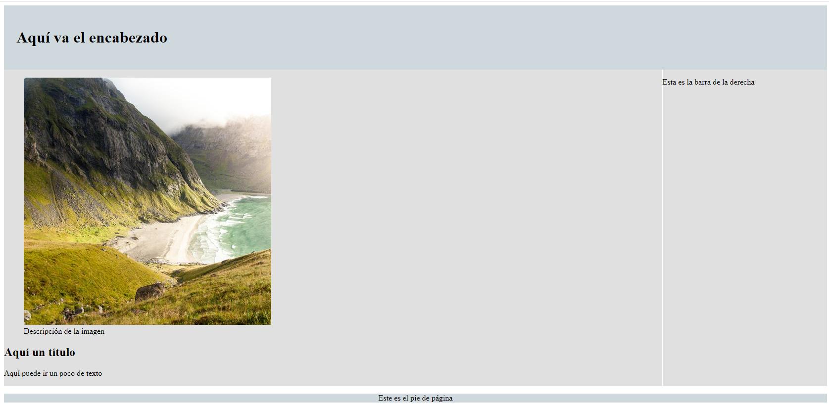 Plantilla HTML con aside, footer, section y header - Barra a la derecha