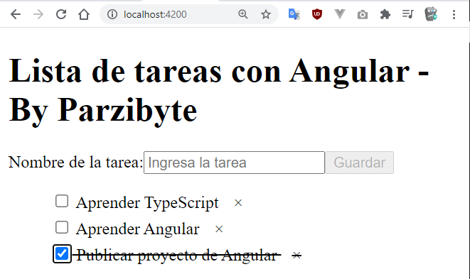 ToDo list con Angular y TypeScript - Ejemplo de proyecto con localStorage