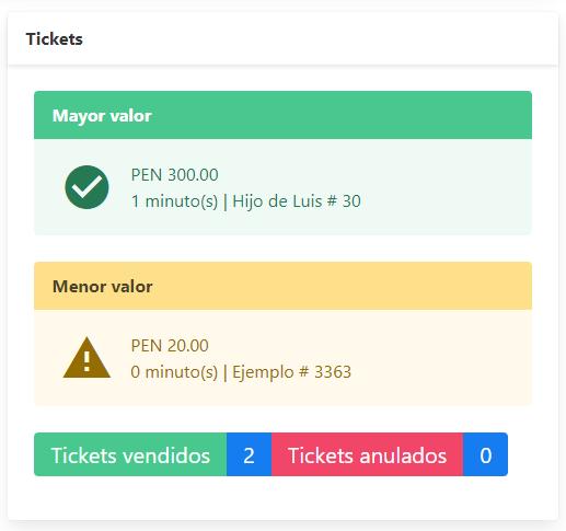 Reporte de tickets en software de boletería - Ticket mayor y menor, con cantidad de vendidos y anulados