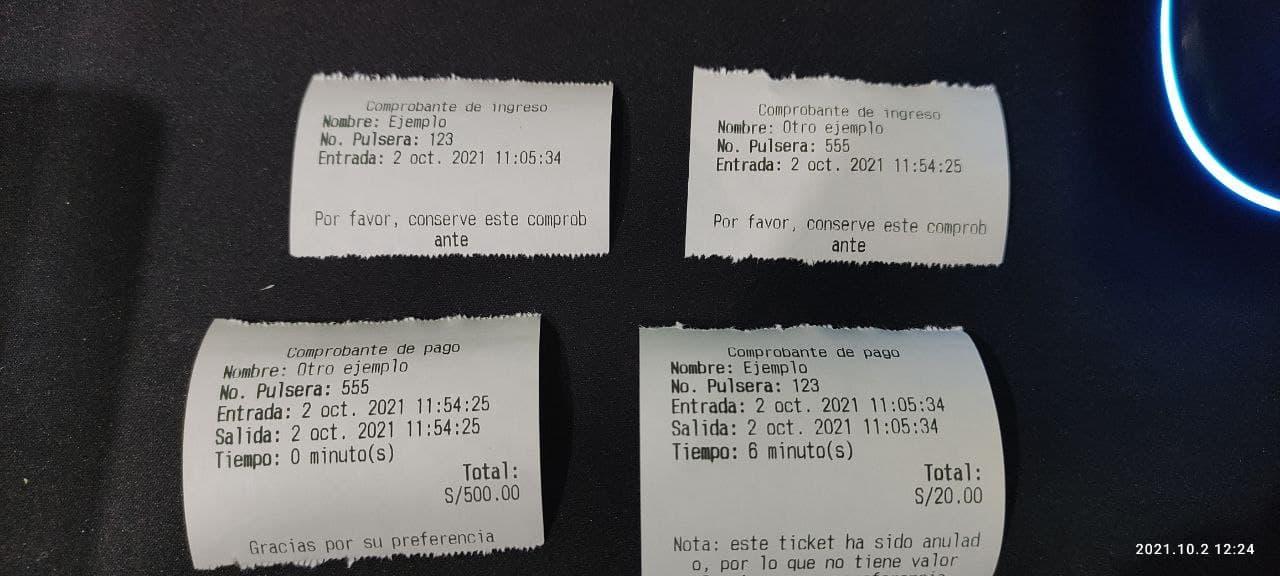 Tickets del sistema de eventos con cobro por tiempo - Impresos con impresora térmica